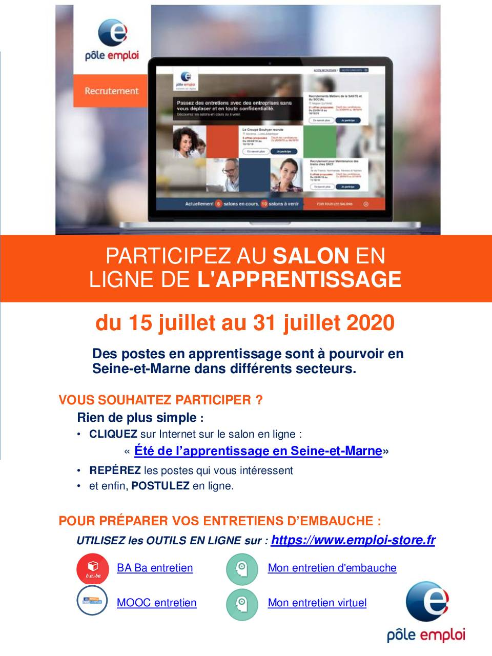 Salon virtuel « l'été de l'apprentissage en Seine-et-Marne »